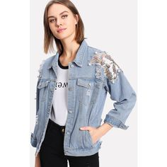 Sequin Detail Ripped Denim Jacket (£5.98) ❤ liked on Polyvore featuring outerwear, jackets, blue jean jacket, distressed jean jacket, blue jackets, distressed jacket and sequin jacket