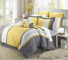 Yellow bedding sets are bright and sunny choice for bedroom decor. Many beautiful yellow bedding sets prints, bold yellow stripes, and lovely floral prints. Yellow And Gray Comforter, Grey Bedding, Luxury Bedding, Gray Yellow, Color Yellow, Yellow Walls, Navy Blue, Bed Sets, Queen Comforter Sets