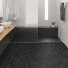 Herringbone Laminate Flooring, Waterproof Laminate Flooring, Stone Flooring, Laminate Flooring Bathroom, Black Bathroom Floor, Black Floor, Bathroom Floor Tiles, Slate Bathroom, Floor Colors