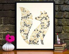Dekorative Fox Siebdruck mit Wald Vögel & Florals von WetpaintArt