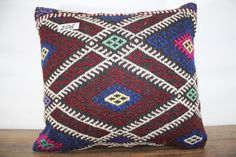 embroidered kilim pillow 16x16 decorative coral kilim pillow 16x16 vintage kilim pillow cover 16x16 Turkish pillow cushion cover SP4040-206