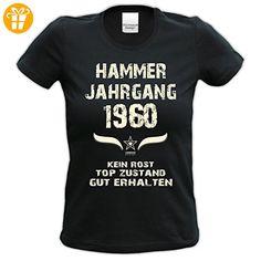 bequemes t Shirt Damen Girlie Motiv Hammer Jahrgang 1960 zum 57. Geburtstag Jahrgangs-T-Shirt Geschenk cooles Outfit Farbe: schwarz Gr: M (*Partner-Link)