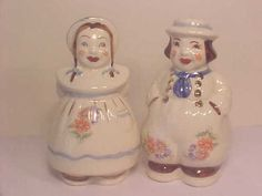 Vintage Dutch Boy and Girl Salt & Pepper Shakers Shawnee Pottery Sold for 75.00