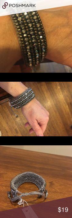 Beautiful Metallic Colored Beaded Bracelet Beaded Bracelet with Pull Tie Closure Crossroads Jewelry Bracelets
