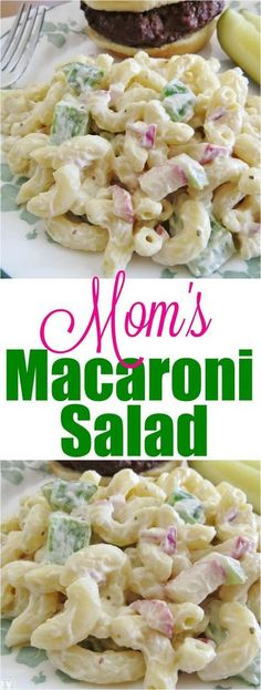 The best macaroni salad (mom's secret Mom's Macaroni Salad recipe from The Country Cook Cold Macaroni Salad, Macaroni Salad With Chicken, Homemade Macaroni Salad, Side Dish Recipes, Pasta Recipes, Steak Recipes, Vegan Recipes, Pasta Dishes, Food Dishes