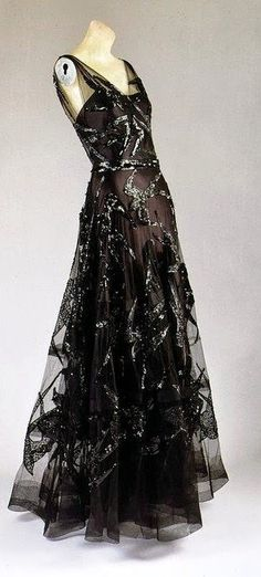 Vionnet Dress - 1938 - by Madeleine Vionnet (French, 1876-1975) - Black silk satin and black silk net embroidered with black sequins - The Metropolitan Museum of Art