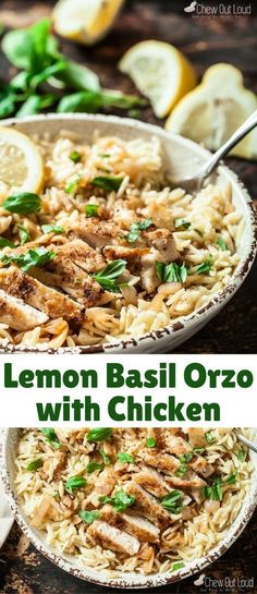This Lemon Basil Orzo with Chicken is quick, easy, and absolutely scrumptious. It's the ultimate spring-summer dinner; light yet incredibly tasty. It's an instant hit you can count on. chicken dinner Lemon Basil Orzo with Chicken - Chew Out Loud Easy Summer Dinners, Easy Meals, Lite Summer Meals, Quick Easy Dinners For Two, Spring Meals, Comida Latina, Dinner Outfits, Cooking Recipes, Healthy Recipes