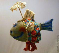 Сказочные персонажи ручной работы. Ярмарка Мастеров - ручная работа. Купить Рыбка под зонтиком. Handmade. Комбинированный, зонтик, винтаж