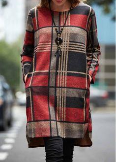 Plaid Print Long Sleeve Straight Dress on sale only US$30.16 now, buy cheap Plaid Print Long Sleeve Straight Dress at lulugal.com