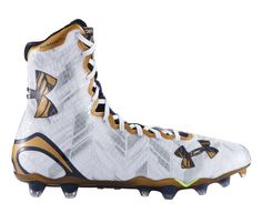 #LacrosseUnlimited #UnderArmour Highlight Lacrosse Cleats, Notre Dame #GoIrish Cool Football Boots, Mens Football Cleats, Football Gear, Football Outfits, Football Shoes, Football Fans, Football Stuff, Cam Newton Shoes, Cam Newton Cleats