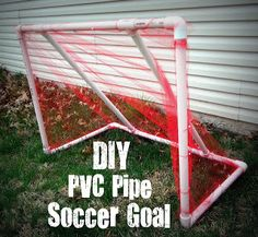 DIY PVC Pipe Soccer Goal Tutorial - Inexpensive and Easy to make! SixSistersStuff.com #soccer