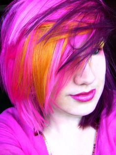 Anya Goy's hair in pink, purple and orange/ yellow
