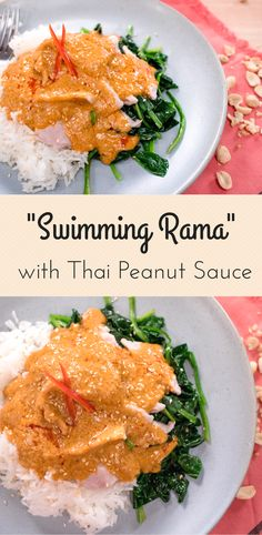 """""""Swimming Rama"""" Spinach w/ Thai Peanut Sauce พระรามลงสรง - Hot Thai Kitchen! -""""Swimming Rama"""" is a dish that is becoming hard to find in Thailand, but is still served in many Thai restaurants overseas. Started by Chinese immigrants in Bangkok, swimming rama is made up of a bed of blanched morning glory or water spinach, topped with tender slices of pork or chicken (or tofu), with a peanut sauce poured on top.On the streets of Thailand,the gravy may be diluted with stock,and thickened with…"""