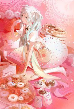 Vocaloid - Miku Hatsune (初音 ミク) -「DonutMiku」/「nanobe」のイラスト [pixiv]