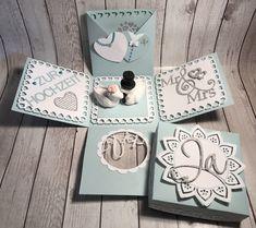 Money gifts wedding – The Best Ideas Wedding Cards, Wedding Gifts, Wedding Invitations, Exploding Gift Box, Box Cards Tutorial, Tarjetas Pop Up, Bf Gifts, Box Patterns, Explosion Box