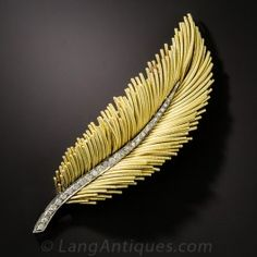 18K Diamond Feather Brooch - Antique & Vintage Pins and Brooches - Vintage Jewelry