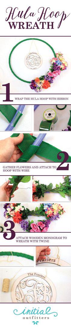 How to make a hula hoop wreath. Steps & details on the blog!