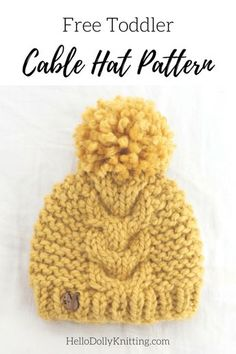 836affbed90 Free Knitting Pattern - Super Bulky Toddler Cable Hat Pattern