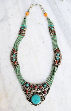 NOTE: Really like this piece, the colors, pattern<3 Ethnic Tibetan Necklace Bead Set with Lapis di silvershop925