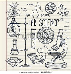 Science lab objects doodle style sketch,Back to school. Alchemy and vintage medieval science. Note book page paper. - buy this vector on Shutterstock & find other images. Science Drawing, Science Art, Science Quotes, Earth Science, Science Experiments, Physical Science, Tattoo Painting, Science Doodles, Science Illustration