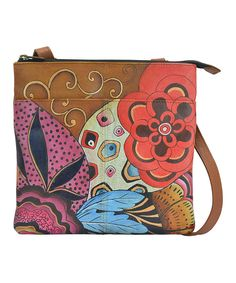 Look at this Anna by Anuschka Floral Potpourri Hand-Painted Compartment Leather Crossbody Bag on #zulily today!