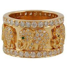 Cartier Emerald Diamond Elephant Ring