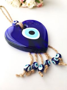 Evil eye wall hanging, heart wall hanhing with evil eye, glass evil eye wall decor, blue evil eye Heart Wall Decor, Heart Wall Art, Hamsa, Turkish Decor, Greek Evil Eye, Evil Eye Charm, Heart Decorations, Hanging Hearts, Cute Jewelry