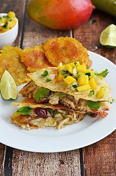 Jamaican Jerk Chicken Quesadillas-- with shredded jerk chicken, red beans, tostones, and havarti cheese