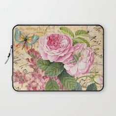 #vintage #nature #watercolor #colorful #flowers #floral #woman #girly #pretty #shabby #spring #summer available in different #homedecor products. Check more at society6.com/julianarw #laptopsleeve