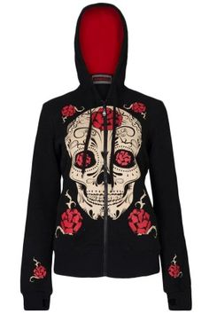 Women's Day Of The Dead Skull Hoodie - Black