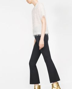 Image 3 of CROPPED BELL BOTTOM TROUSERS from Zara