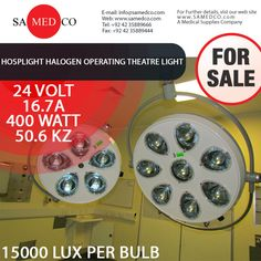 Hosplight Halogen Operating Theatre Light also known as Ceiling Lamps. Samedco can provide these lamps also in the stand mode theatre lights to suit the requirements of each and every medical profession. These Operation Theatre Lights are used in most of the hospitals and clinics.