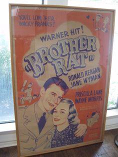 "RARE Vintage 1944 Original Movie Poster ""Brother Rat"" Ronald Reagan Jane Wyman   eBay"