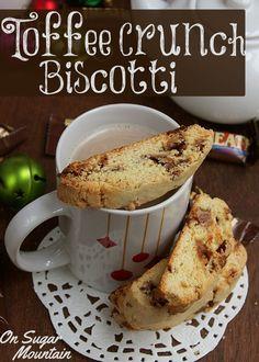 Toffee Crunch Biscotti (recipe) - On Sugar Mountain Biscotti Cookies, Biscotti Recipe, Galletas Cookies, Cookie Desserts, Cookie Recipes, Dessert Recipes, Top Recipes, Cookie Jars, Crack Crackers