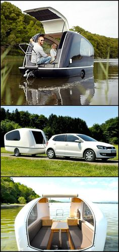 Can't decide whether to go camping or boating for your next outdoor adventure? Why not figure it out as you're traveling, or perhaps just do both activities? With a Sealander, it's easy! Its a caravan and yacht rolled into one. If you love spending time o Vw Camping, Glamping, Camping Survival, Camping Hacks, Outdoor Fun, Outdoor Camping, Materiel Camping, Happy Campers, Boating