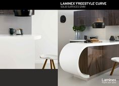 LAMINEX® FREESTYLE® Curve solid surfaces help create inspirational interiors with an innovative twist. Not only is it 100% acrylic but this stunning solid surface can also be thermoformed to realise even more inventive designs with seamless joins.