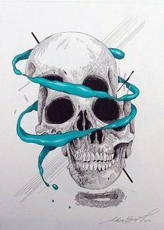 Skull Illustration, Day Of The Dead Skull, Skull Artwork, Skull Wallpaper, Skulls And Roses, Skull Tattoos, Art Tattoos, Skull Design, Psychedelic Art