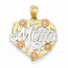 NEW-SOLID-14K-TWO-TONE-GOLD-MOM-HEART-ROSES-1-17g-CHARM-OR-PENDANT-80-X-60