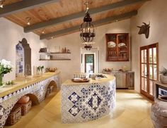 Mexican Kitchen - Handmade tiles can be colour coordinated and customized re. shape, texture, pattern, 🔺🔺Talavera Mexican Pottery: 🔷🔷🔸🔸🔹  More At FOSTERGINGER  @ Pinterest 🔹🔸🔸🔷🔷