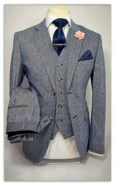 MENS 3 PIECE TWEED NAVY GREY SUIT PARTY PROM TAILORED SMART WEDDING