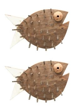 Wood Pile Puffer Fish - Set of 2 by Foreside Home Wood Block Crafts, Wood Blocks, Wood Projects, Driftwood Fish, Driftwood Crafts, Wooden Fish, Wooden Art, Fish Wall Art, Fish Art