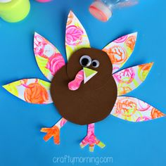Neon Turkey Craft for Kids (Bottle Cap Painting) - Crafty Morning