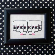 SMALL Bake Cake knuckle tattoo Framed Embroidery by livingthread