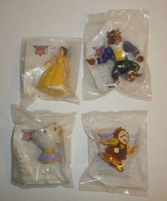 Lot of 4 Beauty and the Beast vtg Burger Kings Kids Meal Toys Figures Disney new #Disney