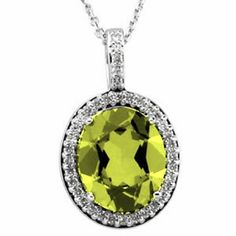 Platinum Oval Cut Peridot and Diamond Pendant Gems-is-Me. $2312.30. FREE PRIORITY SHIPPING. This item will be gift wrapped in a beautiful gift bag. In addition, a 'gift message' can be added.