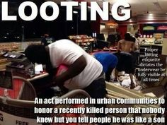 These people don't REALLY care about  improving their situations. They use any event to justify their criminal behavior.  And how stupid to set fires and loot your own neighborhoods. Makes it easy to identify where blacks are the majority. Yes I'm prepared for the racist accusations, nothing new.  But you don't see whites rioting and looting. Saying the truth doesn't make me a racist