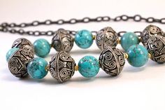 Silver Turquoise Necklace Large Bead Chunky Necklace by amyfine