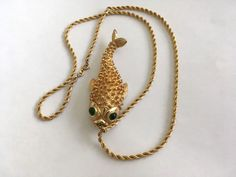 VTG SIGNED RARE 2-in-1 CASTLECLIFF FISH BROOCH NECKLACE combo jewelry #Castlecliff