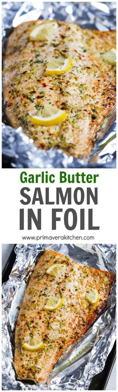 salmon recipes Garlic Butter Salmon in Foil - This Garlic Butter Salmon in Foil is an ultra-easy and a flavourful dinner to make during your busy weeknights. It's ready in less than 30 minutes and it's delicious with salads and roasted veggies. Salmon Dishes, Seafood Dishes, Seafood Recipes, New Recipes, Cooking Recipes, Healthy Recipes, Recipies, Cooking Ideas, Cooking Bacon