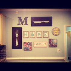Kitchen wall...LOVE the everything about this but my fav is the home sign with the state for the O